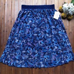 LuLaRoe Lola Blue Chiffon Feather Skirt Size L